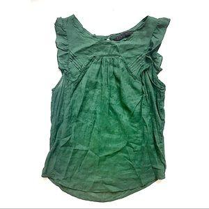 Zara Emerald Green Cap Sleeve Blouse